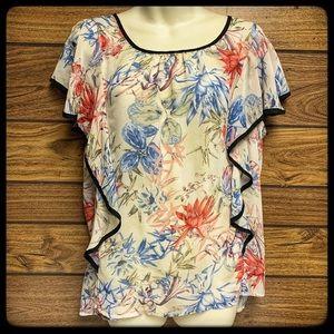 AGB floral flouncy top XL semi sheer ruffle sleeve